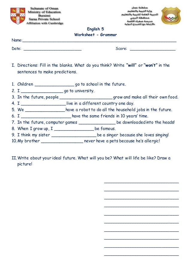 Worksheet Use of Will and Wont – Will Worksheet