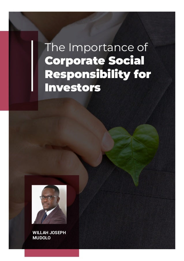 The Importance of Corporate Social Responsibility for Investors WILLAH JOSEPH MUDOLO