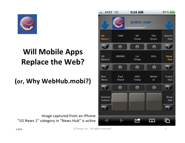 Will Mobile Apps        Replace the Web?                    (or, Why WebHub.mobi?)                    ...