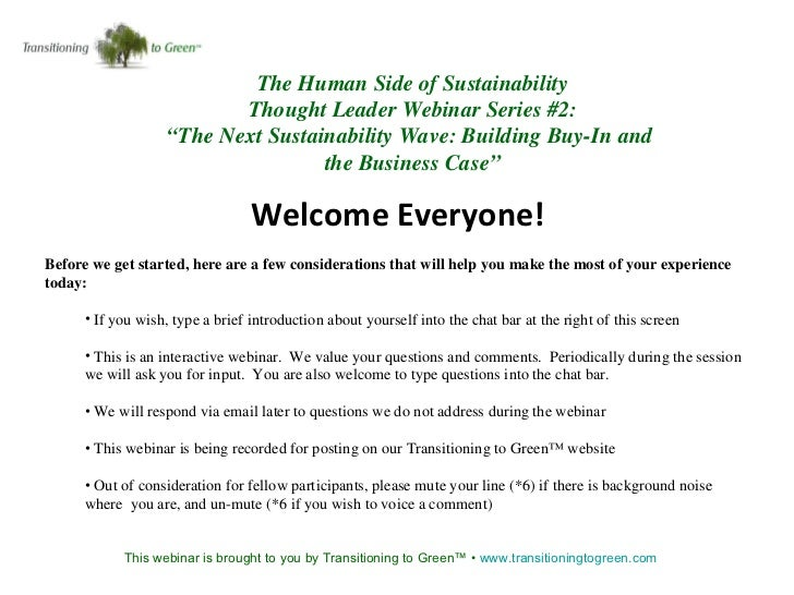 """The Human Side of Sustainability Thought Leader Webinar Series #2: """" The Next Sustainability Wave: Building Buy-In and  th..."""