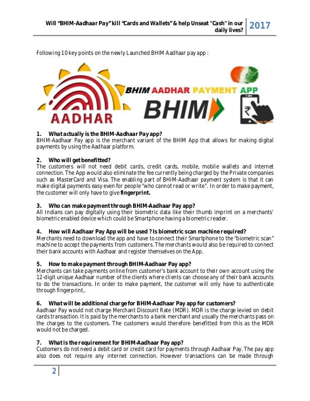 """Will """"Bhim aadhaar pay"""" kill """"cards and wallets"""" and help ..."""