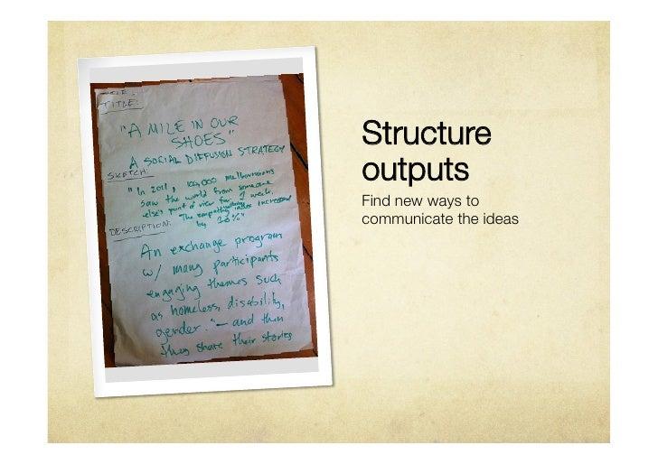 StructureoutputsFind new ways tocommunicate the ideas