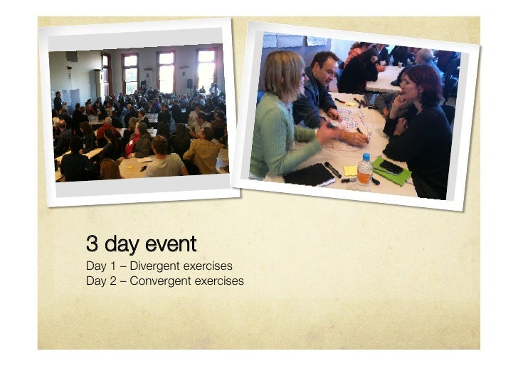 3 day eventDay 1 – Divergent exercisesDay 2 – Convergent exercises