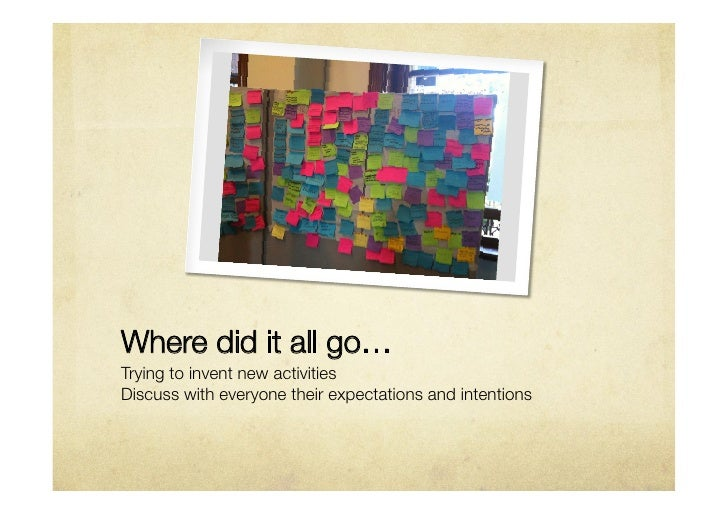 Where did it all go…Trying to invent new activitiesDiscuss with everyone their expectations and intentions