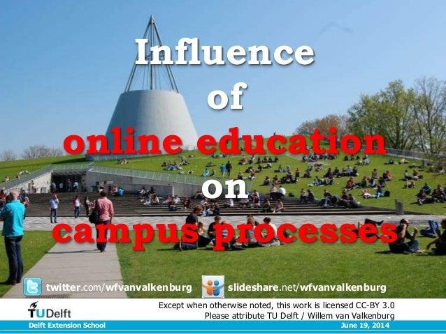 Delft Extension School June 19, 2014 Influence of online education on campus processes twitter.com/wfvanvalkenburg slidesh...