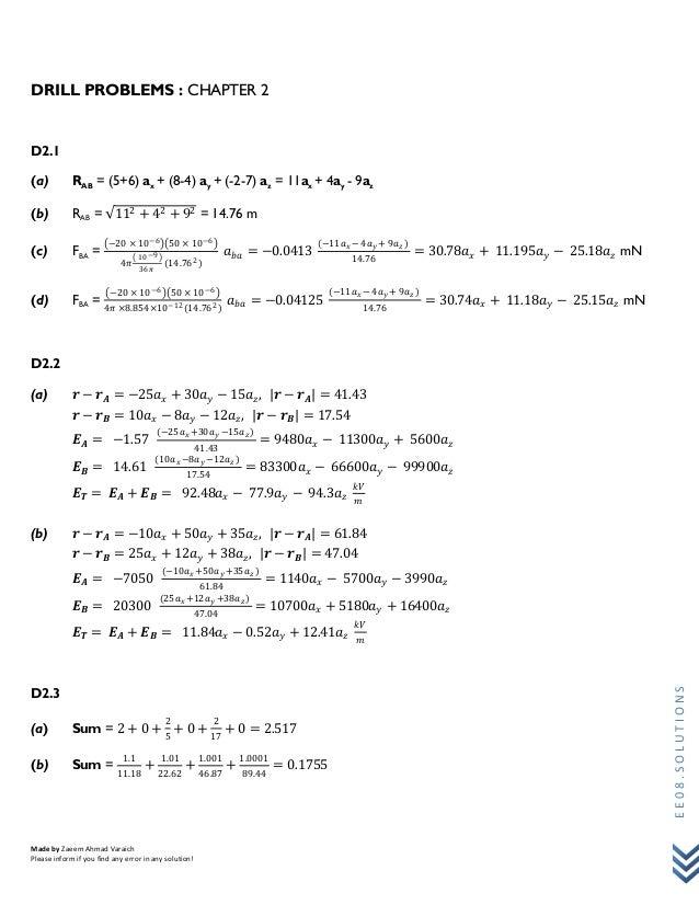 William Hyatt 7th Edition Drill Problems Solution