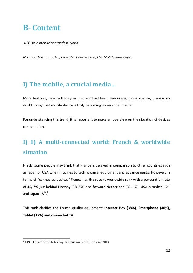 12B- ContentNFC: to a mobile contactless world.It's important to make first a short overview of the Mobile landscape.I) Th...