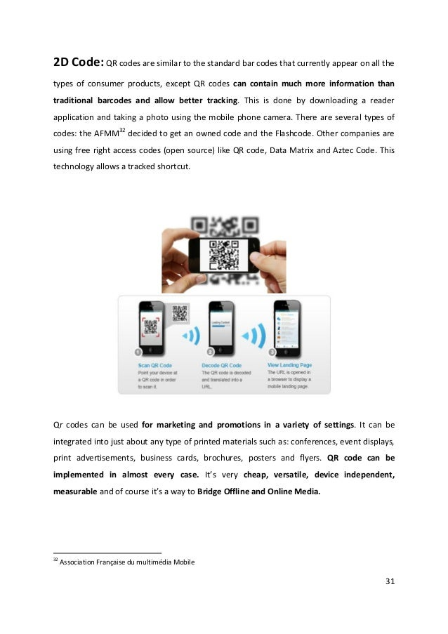 312D Code: QR codes are similar to the standard bar codes that currently appear on all thetypes of consumer products, exce...