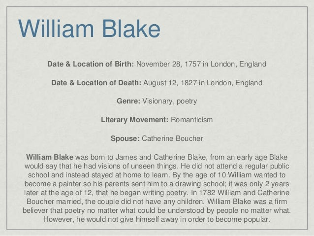 William Blake and His Poetry