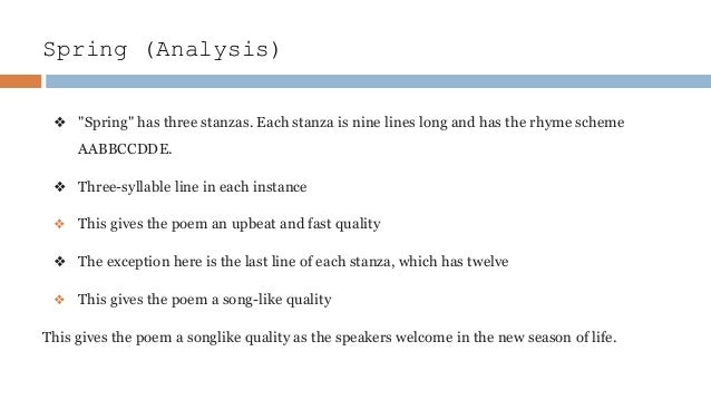 an analysis of the poem spring