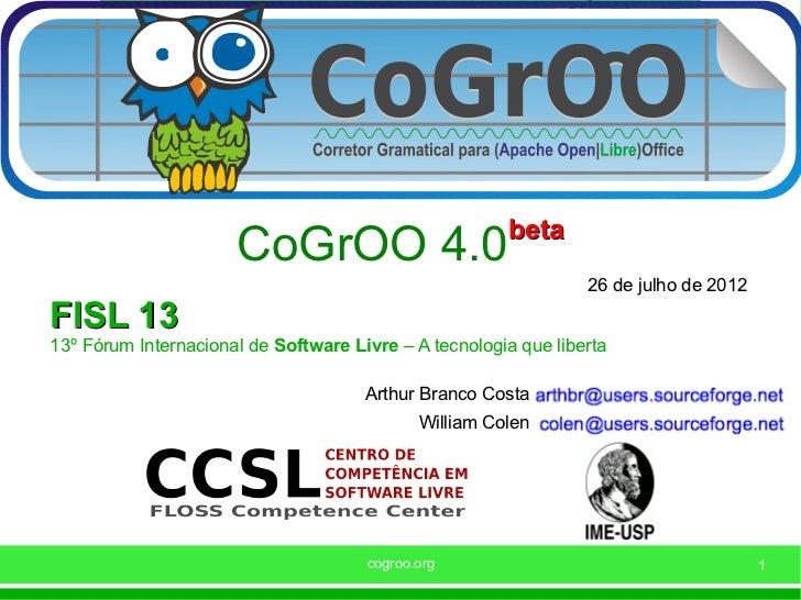 beta                      CoGrOO 4.0                                                                 26 de julho de 2012FI...