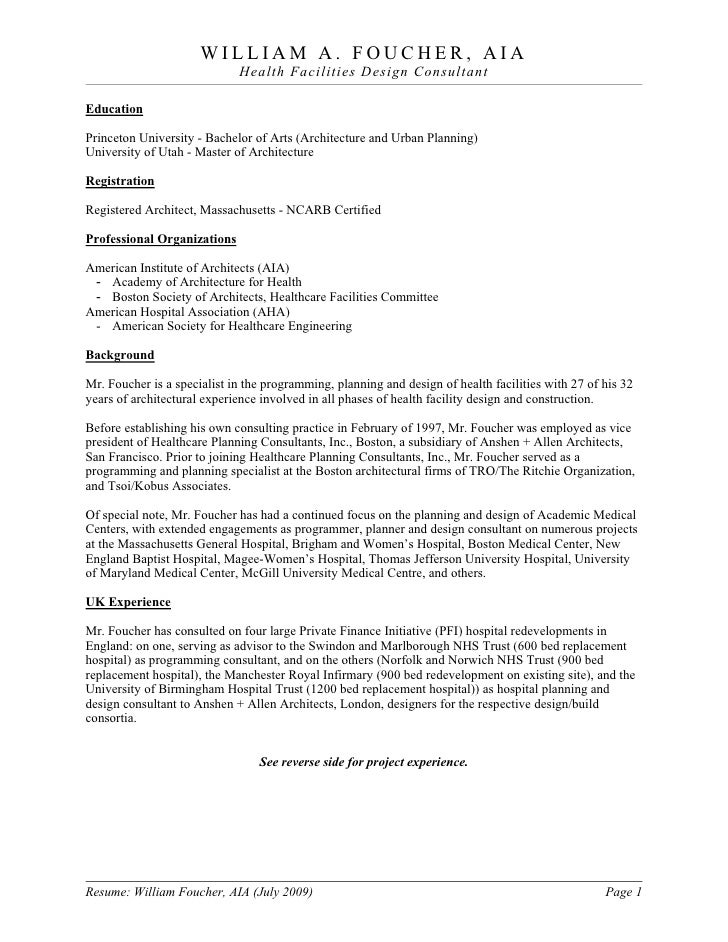 william foucher resume brochure 2009 07