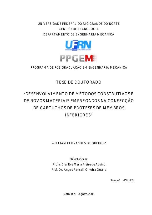 UNIVERSIDADE FEDERAL DO RIO GRANDE DO NORTE CENTRO DE TECNOLOGIA DEPARTAMENTO DE ENGENHARIA MECÂNICA PROGRAMA DE PÓS-GRADU...