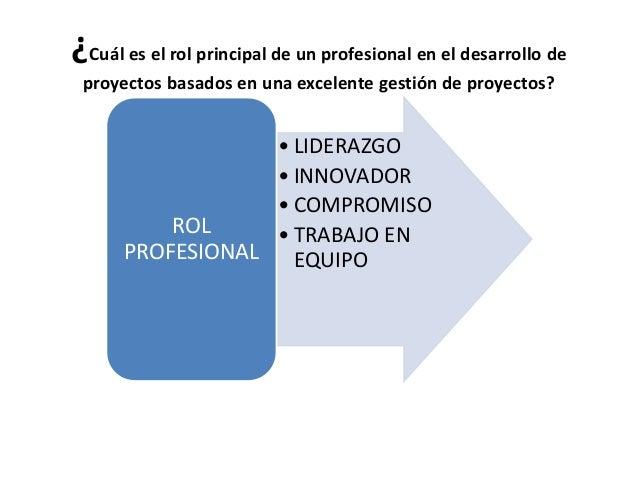 ¿Cuál es el rol principal de un profesional en el desarrollo de proyectos basados en una excelente gestión de proyectos? •...