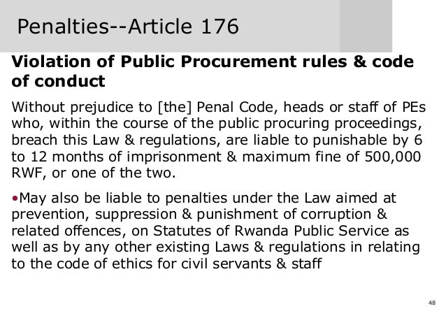 48 Penalties--Article 176 Violation of Public Procurement rules & code of conduct Without prejudice to [the] Penal Code, h...