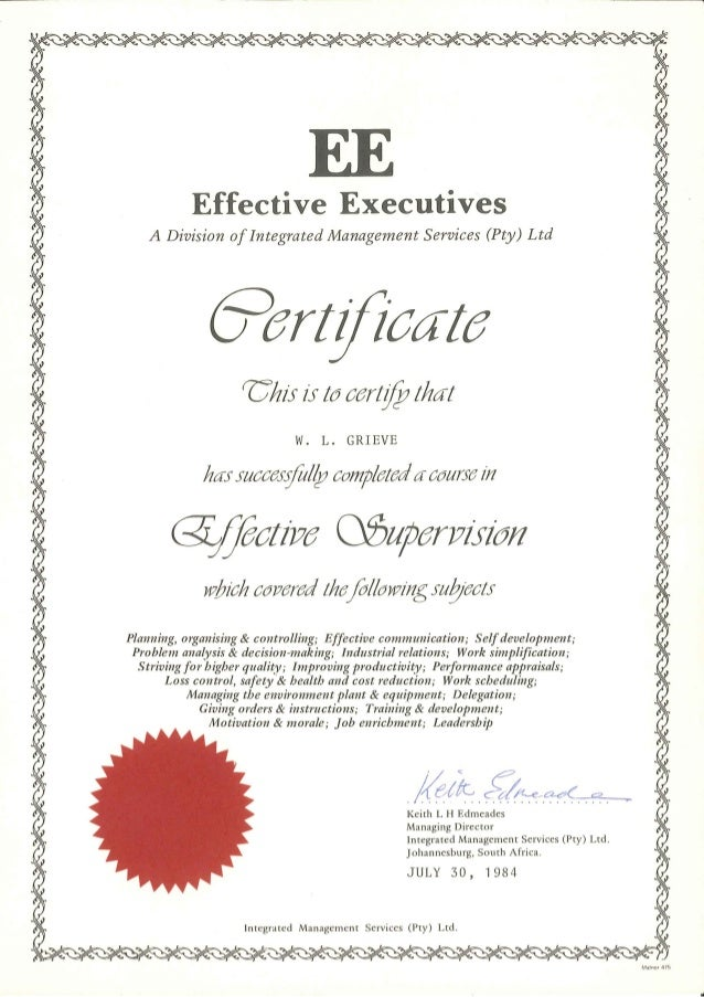 William leslie grieve   bill grieve - effective executives course certificate