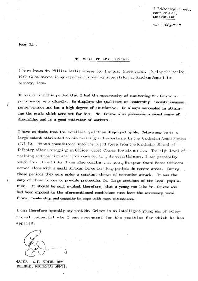 William leslie grieve   bill grieve - letter of reference from major af simon retired naschem armscor
