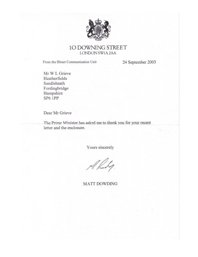 William leslie grieve   bill grieve - letter of thanks from office of the prime minister of the uk during the gulf war