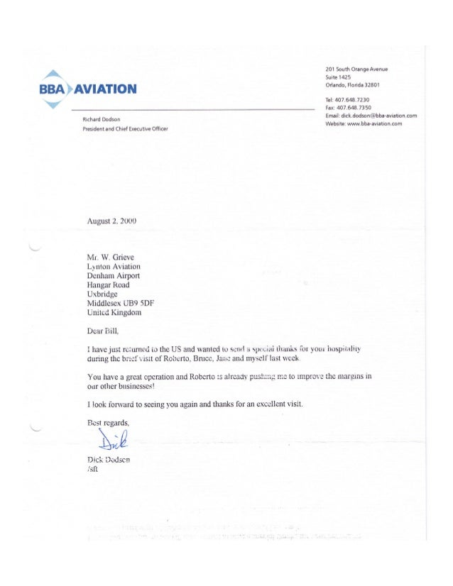 William leslie grieve   bill grieve - letter of thanks from richard dodson dick dodson ceo bba group plc