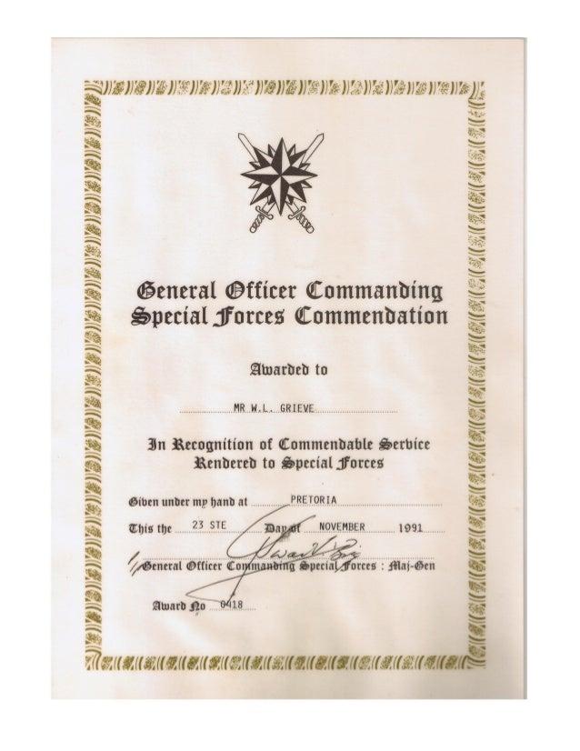 William Leslie Grieve   Bill Grieve - SADF Special forces commendation