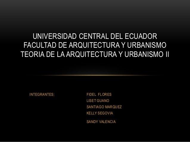 INTEGRANTES: FIDEL FLORES LISET GUANO SANTIAGO MARQUEZ KELLY SEGOVIA SANDY VALENCIA UNIVERSIDAD CENTRAL DEL ECUADOR FACULT...