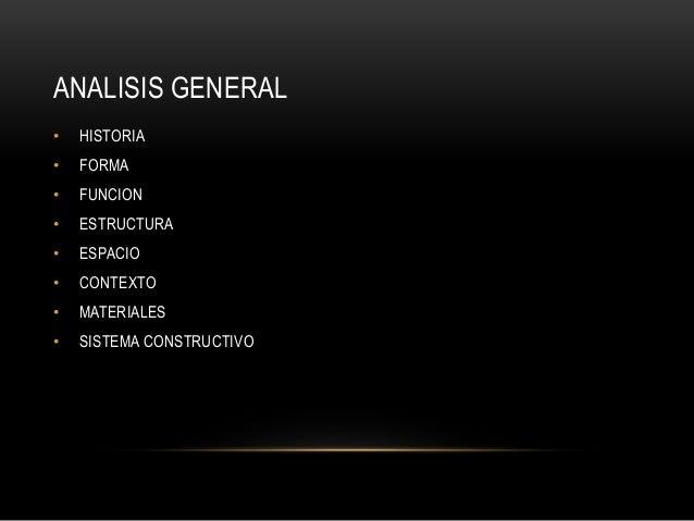 ANALISIS GENERAL • HISTORIA • FORMA • FUNCION • ESTRUCTURA • ESPACIO • CONTEXTO • MATERIALES • SISTEMA CONSTRUCTIVO