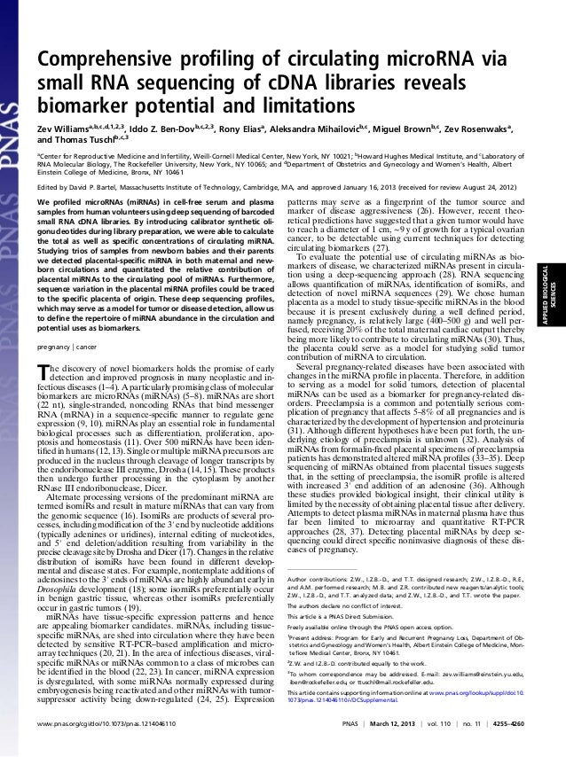 Comprehensive profiling of circulating microRNA via small RNA sequencing of cDNA libraries reveals biomarker potential and ...
