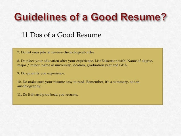 guidelines for a good resume Often both resumes and cover letters are requested in a certain file format (doc, pdf, docx  resumes, good first impressions save the career advice and.