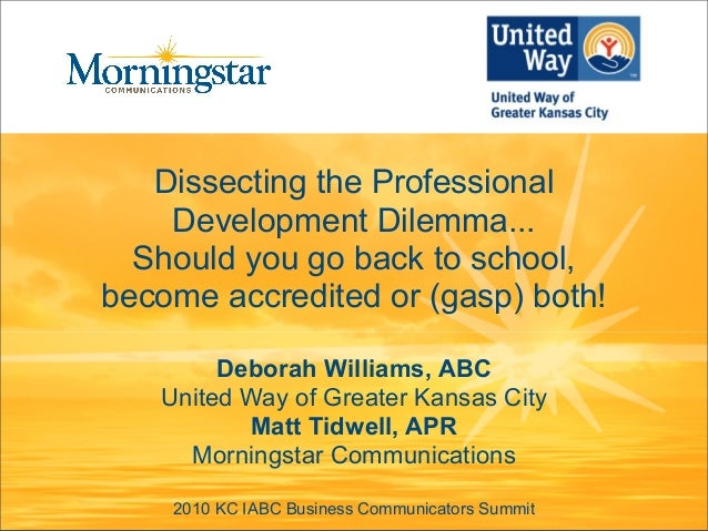 Dissecting the Professional Development Dilemma... Should you go back to school, become accredited or (gasp) both! Deborah...