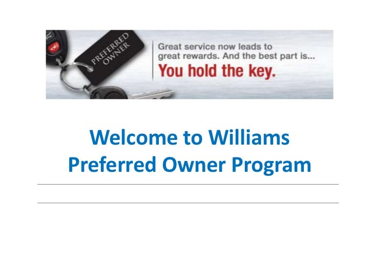Welcome to WilliamsPreferred Owner Program