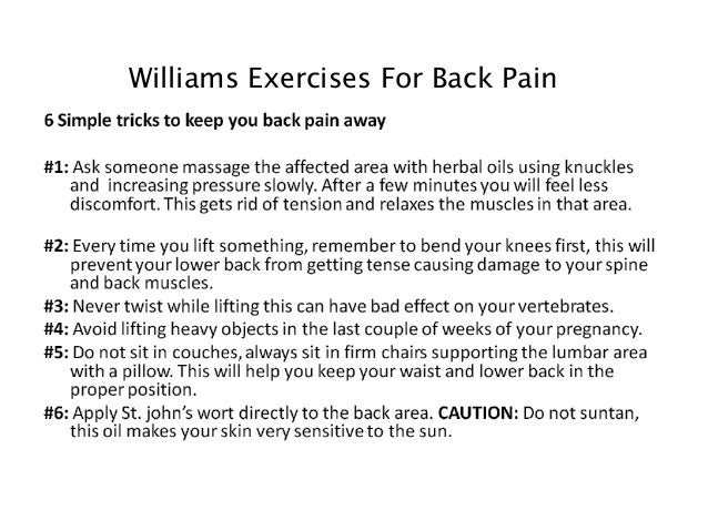Williams exercises for back pain