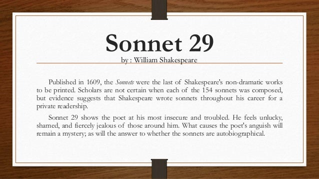 essay on shakespeare sonnet 29