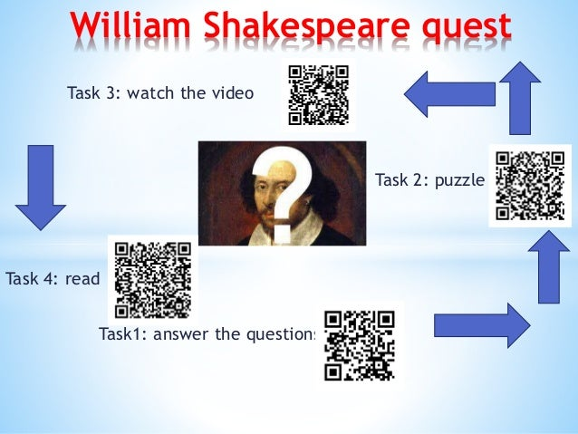 Task1: answer the questions William Shakespeare quest Task 2: puzzle Task 3: watch the video Task 4: read