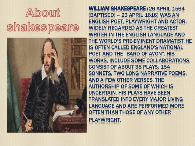 a biography of william shakespeare the great english playwright and poet
