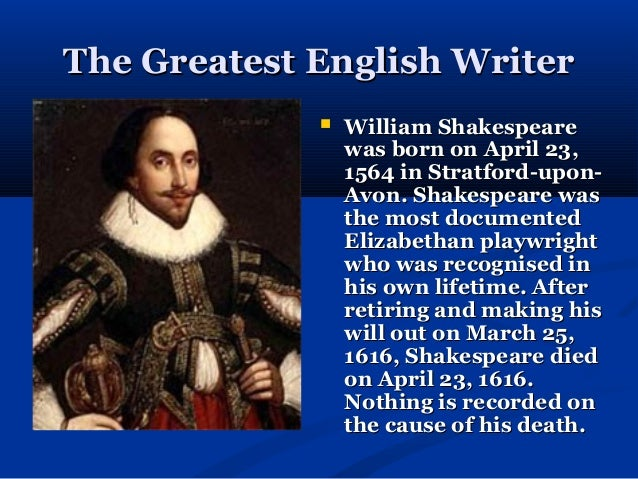 Write a short note on william shakespeare