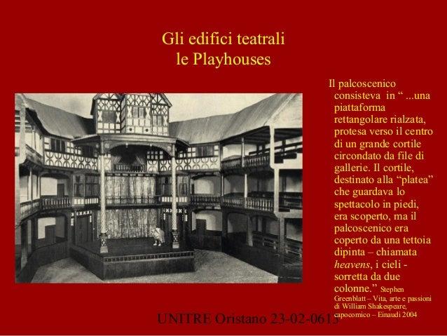 """UNITRE Oristano 23-02-0613 Gli edifici teatrali le Playhouses Il palcoscenico consisteva in """" ...una piattaforma rettangol..."""