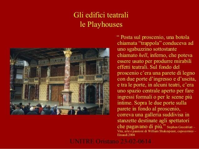 """UNITRE Oristano 23-02-0614 Gli edifici teatrali le Playhouses """" Posta sul proscenio, una botola chiamata """"trappola"""" conduc..."""