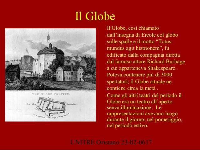 """UNITRE Oristano 23-02-0617 Il Globe, così chiamato dall'insegna di Ercole col globo sulle spalle e il motto """"Totus mundus ..."""