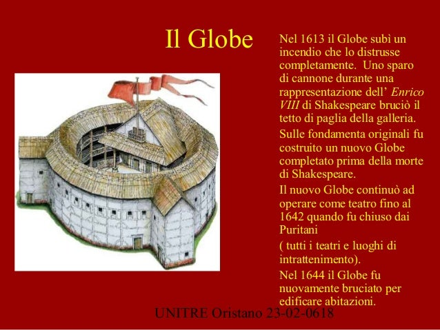 UNITRE Oristano 23-02-0618 Nel 1613 il Globe subì un incendio che lo distrusse completamente. Uno sparo di cannone durante...