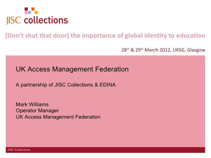 (Don't shut that door) the importance of global identity to education                                                 28th...