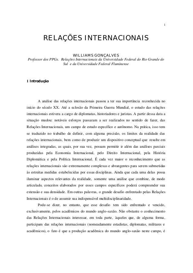 1           RELAÇÕES INTERNACIONAIS                           WILLIAMS GONÇALVESProfessor dos PPGs. Relações Internacionai...