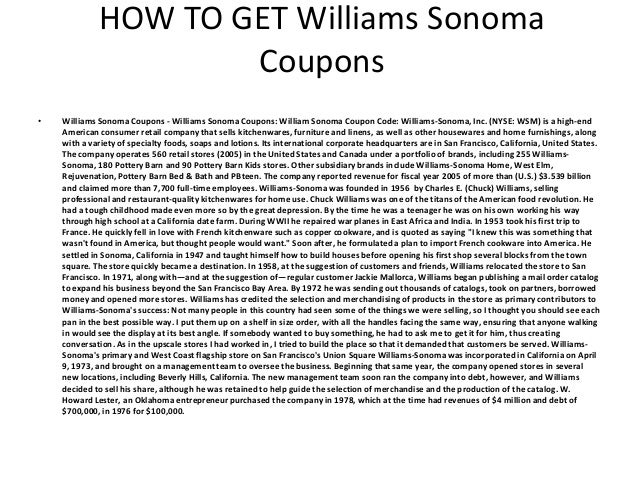 graphic relating to Williams Sonoma Coupons Printable identified as Williams Sonoma Coupon codes - Printable Williams Sonoma Discount codes