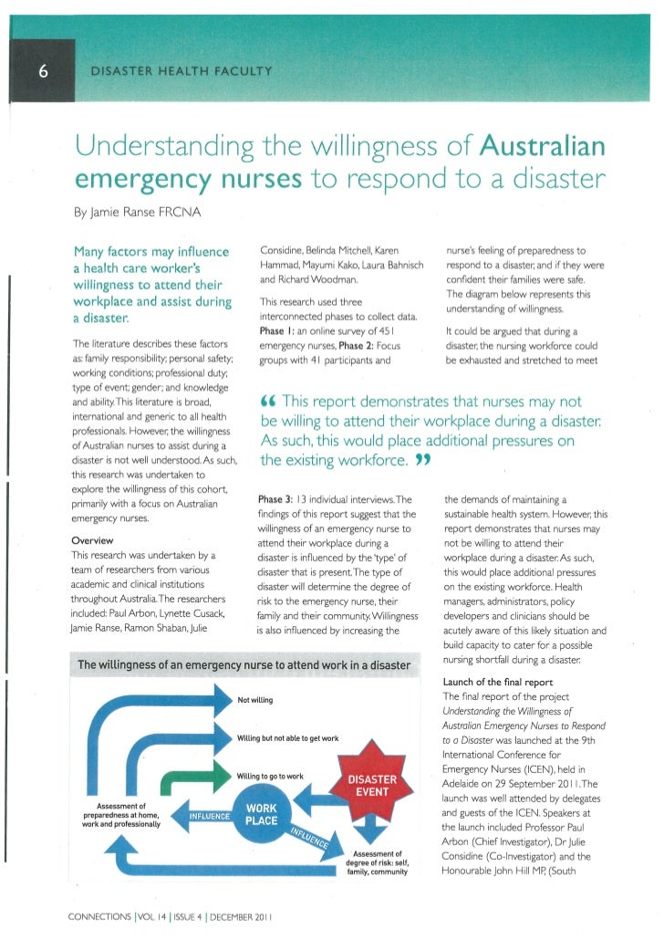 Understanding the willingness of Australian emergency nurses to respond to a disaster