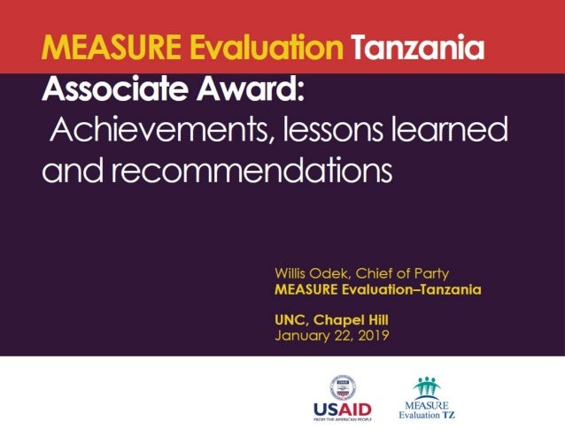MEASURE Evaluation Tanzania Associate Award: Achievements, lessons learned and recommendations