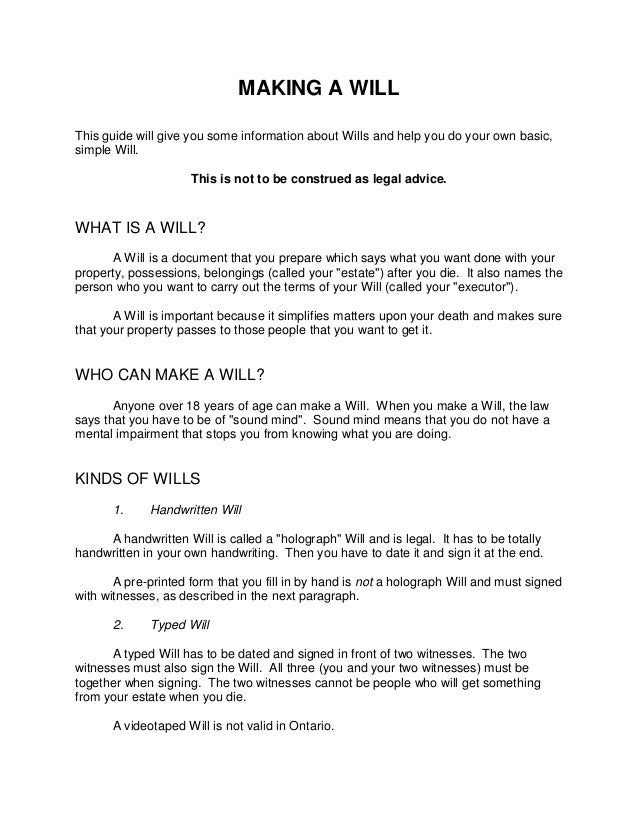 Will kit for Easy last will and testament free template