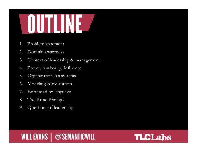 1. Problem statement2. Domain awareness3. Context of leadership & management4. Power, Authority, Influence5. Organiza...