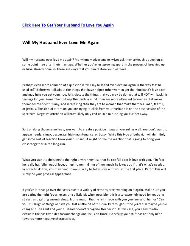 Click Here To Get Your Husband To Love You Again Will My Husband Ever Love Me Again Will my husband ever love me again? Ma...