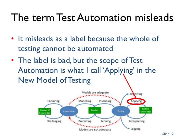 Intelligent Definition and Assurance The term Test Automation misleads • It misleads as a label because the whole of testi...