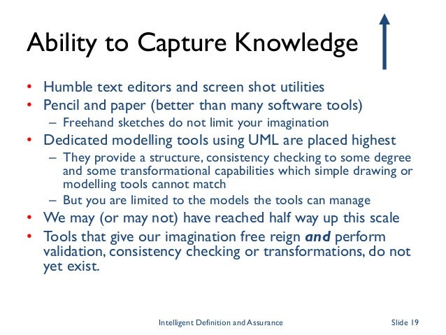 Ability to Capture Knowledge • Humble text editors and screen shot utilities • Pencil and paper (better than many software...