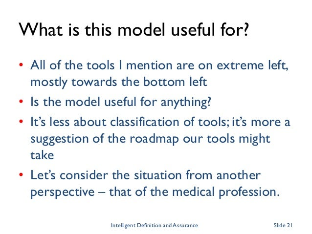 What is this model useful for? • All of the tools I mention are on extreme left, mostly towards the bottom left • Is the m...
